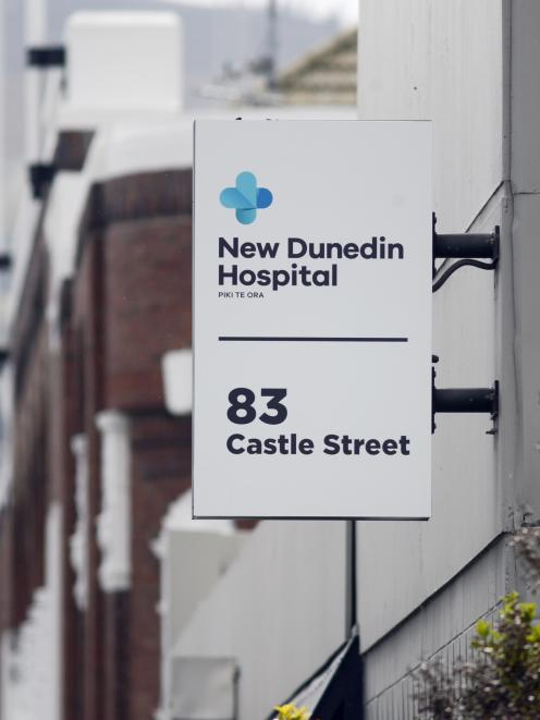 The sign for the site offices of the new Dunedin hospital