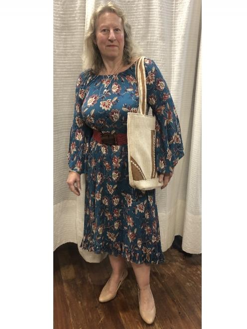 Julie wearing the 'Maree' dress in blue (also available in brown) — $89, with beaded belt $20,...