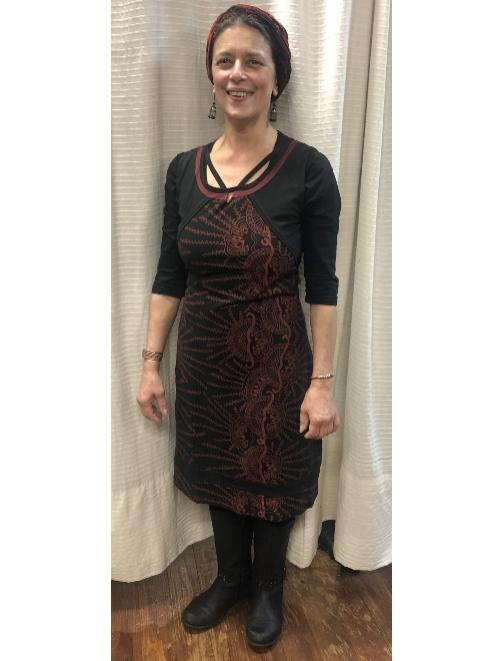 Lisa is wearing the 'Mai' dress — $85, and one of her favourite headscarves — from $10.