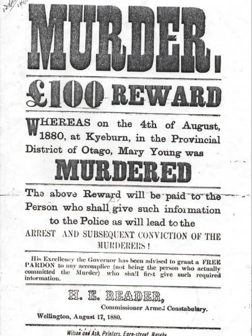 The wanted poster following Mary Young's death.