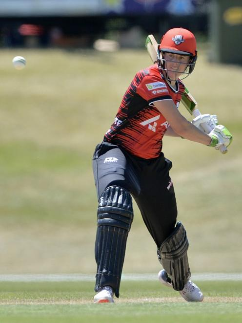 Amy Satterthwaite lines up a shot during Canterbury's game against Otago at Molyneux Park on...