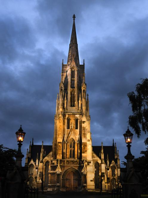 The First Church of Otago is lit up in all its glory at night, by two new powerful LED lights....