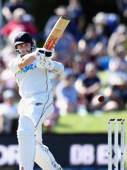 Black Caps captain Kane Williamson plays a pull shot during his team's second test against...
