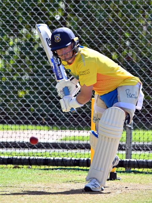 Otago Volts all-rounder Nathan Smith bats in the nets at training, in preparation for tomorrow's...