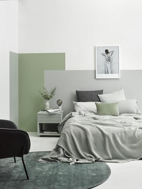 Oxidised greens feature in this bedroom – the use of repetition and contrast make it work. The...