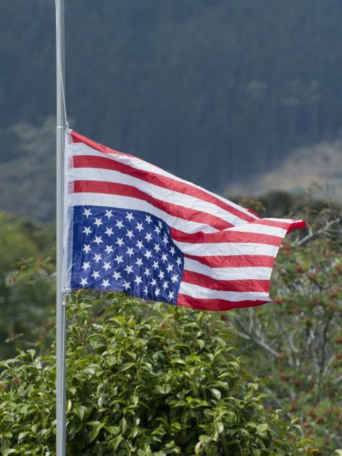 An inverted American flag flies in Littlebourne Rd, Dunedin, yesterday afternoon. The owner, who...