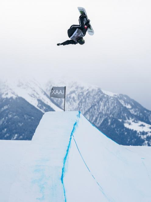 Wanaka's Zoi Sadowski-Synnott on her way to second place in the Laax Open FIS Slopestyle World...