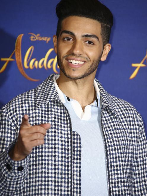 Egyptian-born Canadian actor Mena Massoud on the set during filming of Disney's Aladdin in 2019....
