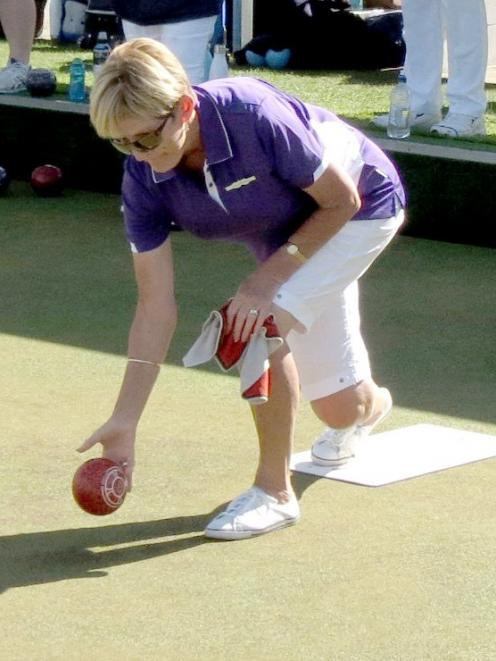 Val Ransom, of Wanaka, delivers a bowl during the national championships at the Alexandra Bowling...