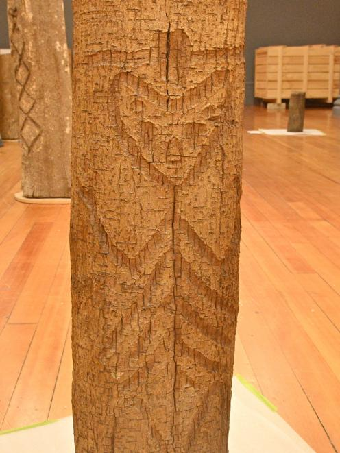 A Moriori tree engraving of a haka, from the collection of the Otago Museum. PHOTO: LINDA ROBERTSON