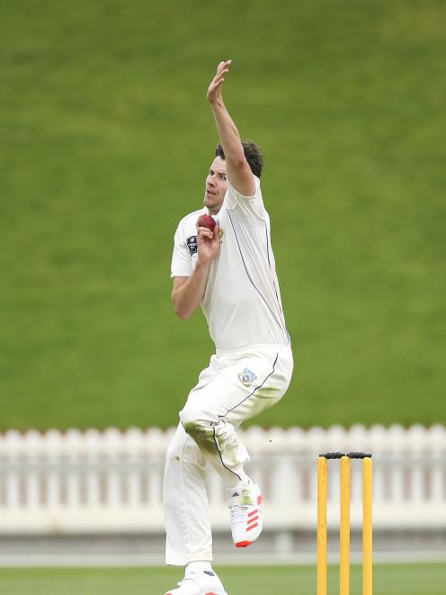 Jacob Duffy in action for Otago during its Plunket Shield match against Wellington at the Basin...