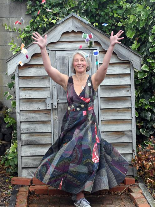 Stitchmaster Judy Ross models the dress that took her a year to hand-sew. PHOTO: STEPHEN JAQUIERY