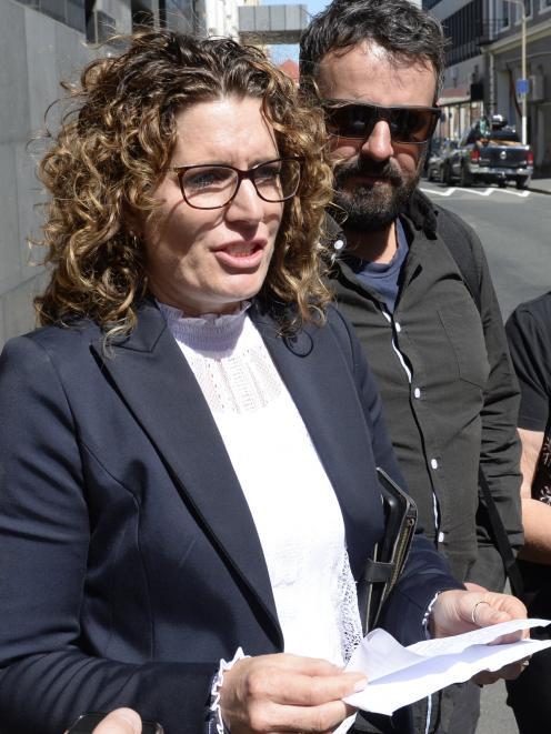 Lia Bezett, sister of murder victim Brent Bacon, and her husband Sam Bezett, outside the Dunedin District Court today. Photo: Gerard O'Brien