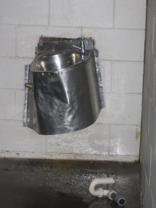The toilet basin at the Awamoa Park men's toilet block was also damaged.