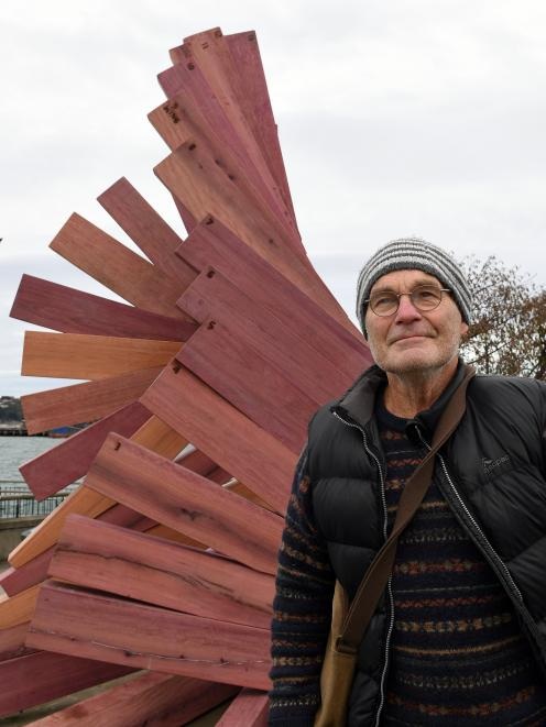 Dunedin sculptor Peter Nicholls with the recreation of his 1989 sculpture Toroa, which was...