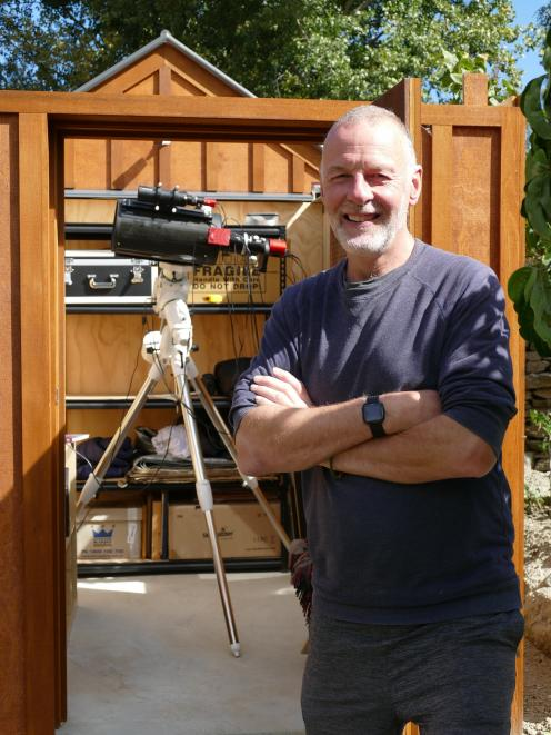 Retired astrophysicist Prof Brian Boyle stands in front of his new purpose-built Dalefield...