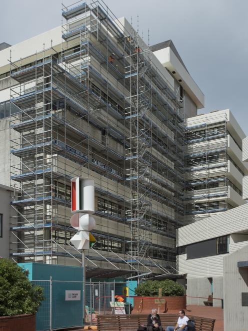 Scaffolding covers the Library Plaza face of the Dunedin Civic Centre. PHOTO: GERARD O'BRIEN
