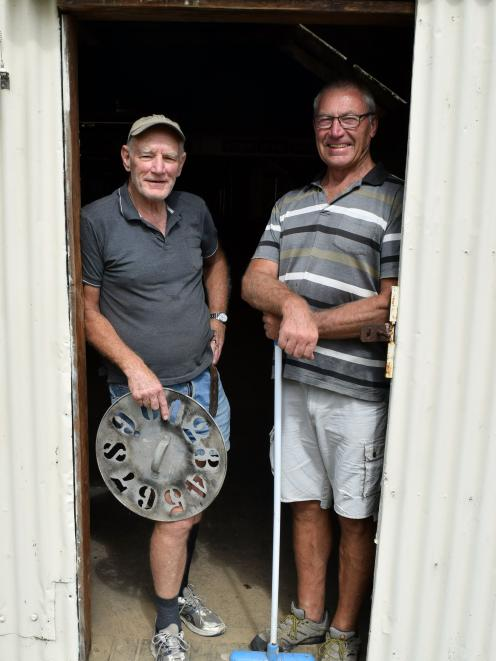 Cleaning the woolshed on Salisbury Estate in North Taieri are Rotary Club of Taieri member Colin Brown (left) and treasurer Neil Hodgkin, both of Mosgiel. Photo: Shawn McAvinue