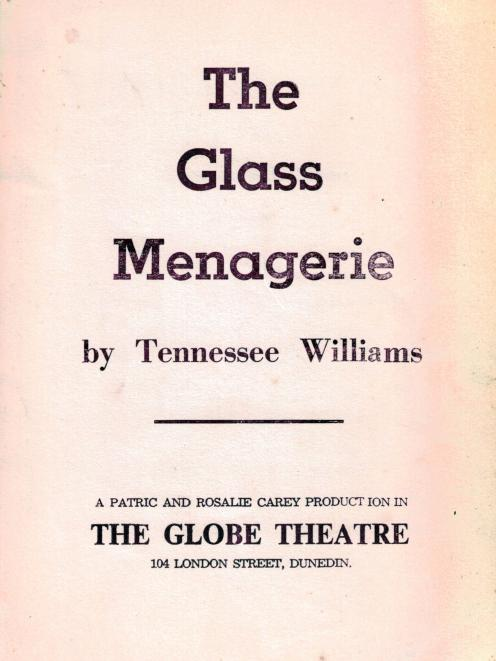 The Globe Theatre's 1961 programme for The Glass Menagerie. PHOTO: SUPPLIED