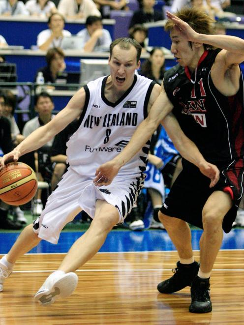 Phill Jones in action for the Tall Blacks against Japan at the world basketball championships in...