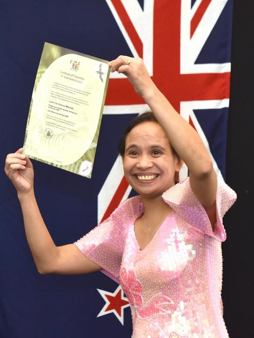 Judith de Mabasa Mitchell, from the Philippines, became a New Zealand citizen in Dunedin this...