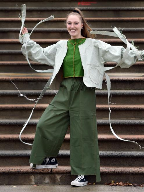 Wearing garments from her own zero waste collection ''New Zeal'' is Lorna Ryan, of Dunedin, who...