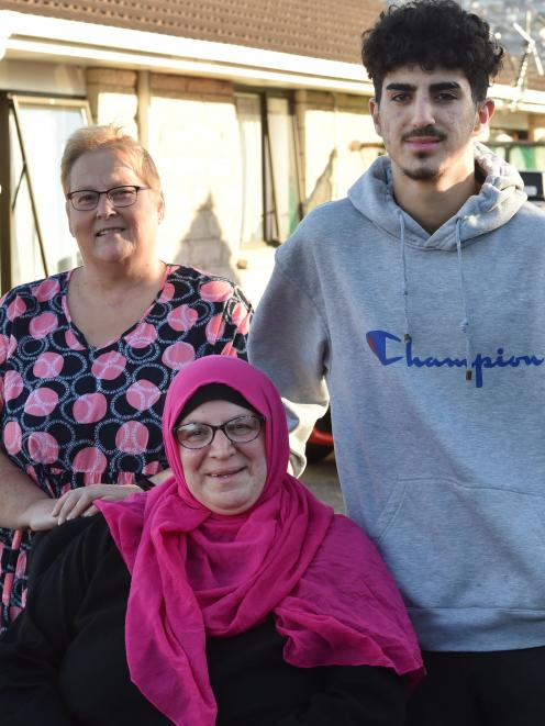 Red Cross volunteer Lynette Will has been working with refugees Wafaa Al Ashram and her son Ahmad...