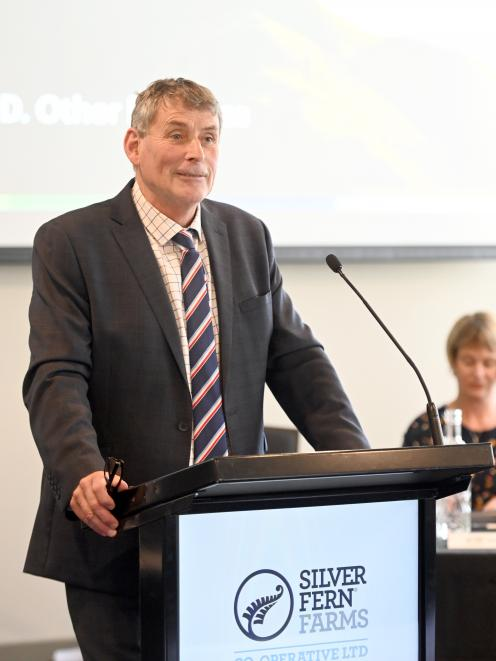 Silver Fern Farms Co-operative chairman Richard Young addresses the co-operative's annual meeting...