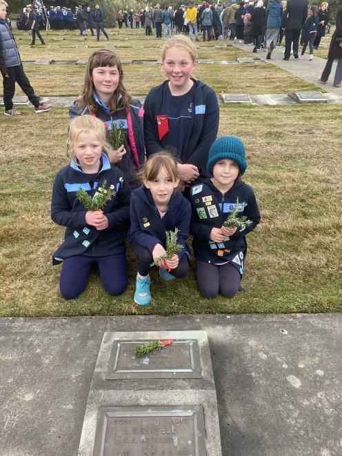 Pleased to have taken part in the Posy Laying Ceremony at Andersons Bay Cemetery on Anzac Day are...