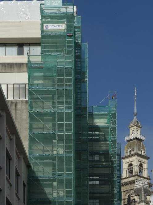 Scaffolding lines the rear of the Dunedin Civic Centre, where refurbishment and roof repairs are...