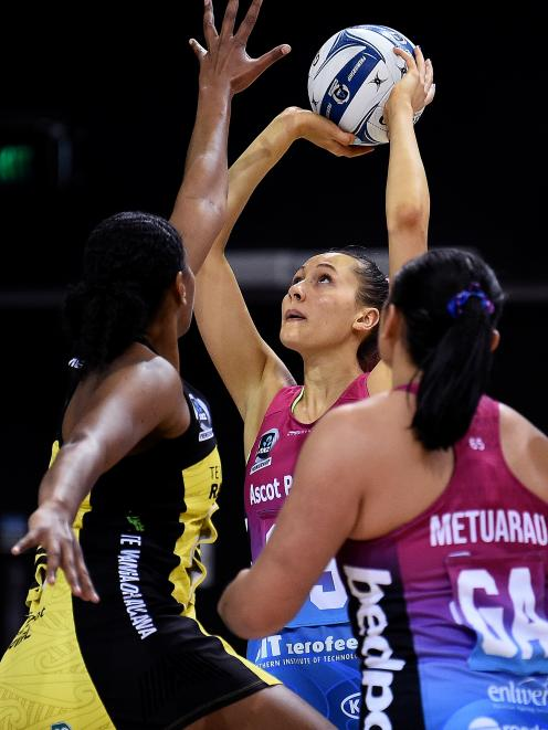 George Fisher, of the Southern Steel, shoots during the round three ANZ Premiership match against...