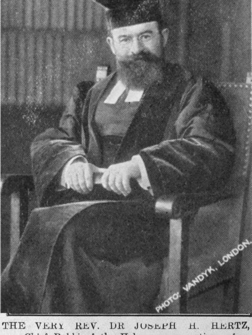The Very Rev Dr Joseph H. Hertz, Chief Rabbi of the Hebrew congregations of the British Empire,...