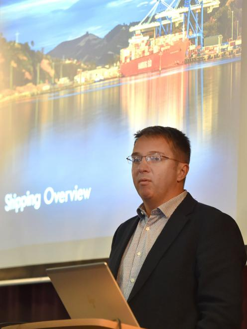 Chief executive of the New Zealand Cruise association Kevin O'Sullivan speaks to a group tourism...