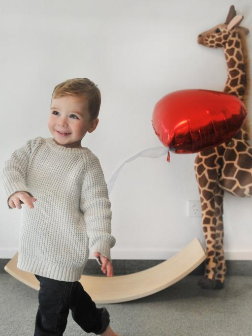 Mosgiel 2-year-old Ali Wilkinson, running and playing again after successful heart surgery. Photo...