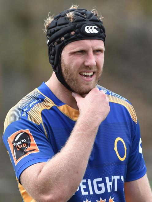Otago lock Josh Dickson at training at Logan Park yesterday.