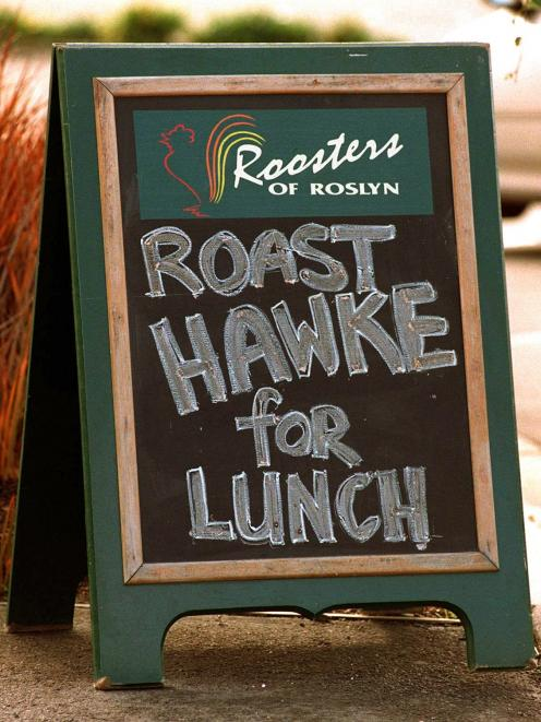 A sign outside the Roosters of Roslyn restaurant the day after the 1998 semifinal shows the...