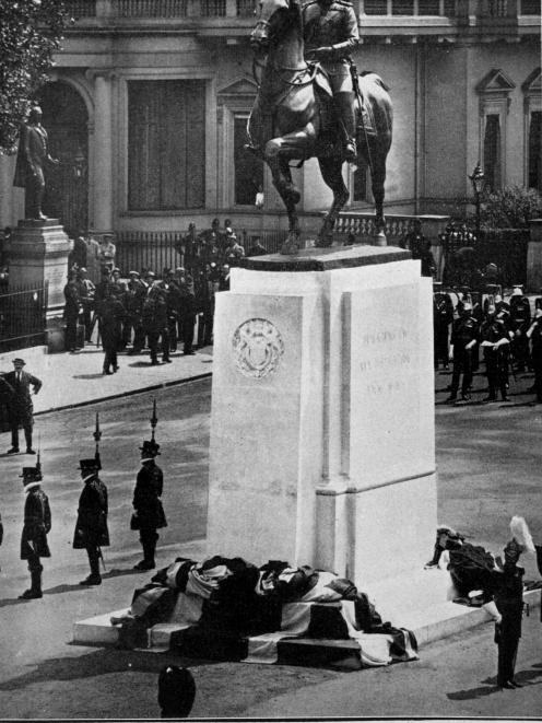 A memorial statue of King Edward VII is unveiled in Waterloo Place, London, by his son, King...