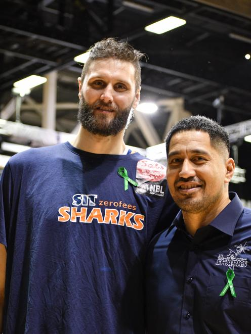 Southland Sharks player Alex Pledger (left) and strength and conditioning coach Tyson Huia wear...