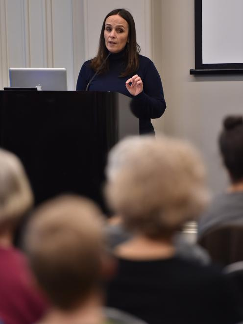 Speak Up For Women organising committee member Daphna Whitmore, of Auckland, speaks to a crowd of...