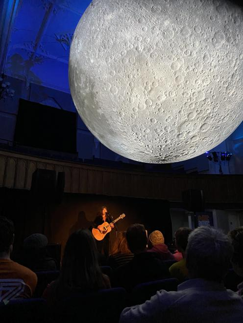 Tiny Ruins (Holly Fullbrook) performed twice to full houses under the 4m replica moon at Hanover...