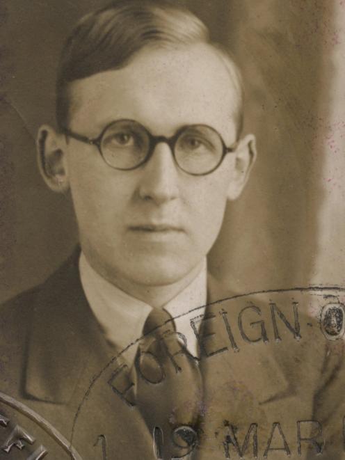 A 1926 passport photo of New Zealand writer James Courage. PHOTO: HOCKEN