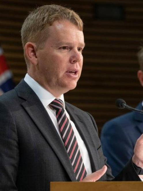 Covid-19 Response Minister Chris Hipkins (L) and Director-general of health Dr Ashley Bloomfield....