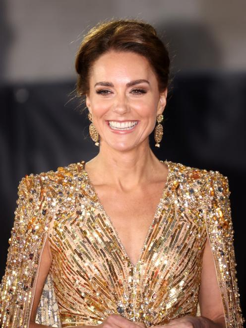 Catherine, Duchess of Cambridge, shines in a dress by Jenny Packham at the premiere. Photo: