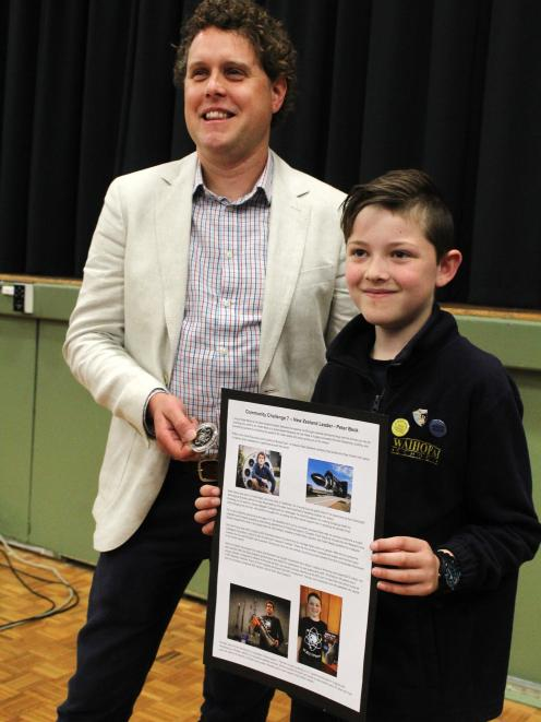 Mr Beck with Noah Hackett (then 10) from Waihopai School during a visit to his hometown,...