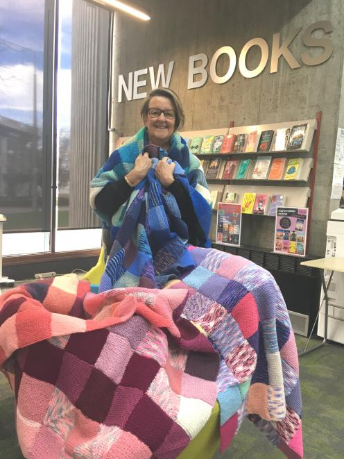 Judy Gabites has sewn together thousands of peggy squares for Timaru District Libraries' mission...