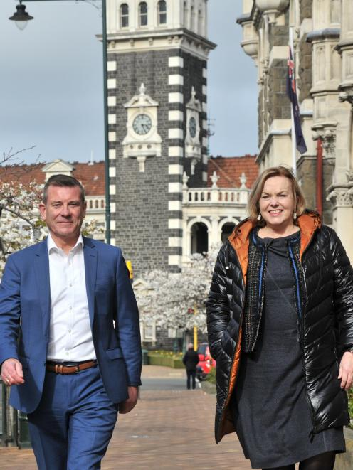 Dunedin-based National list MP Michael Woodhouse and National Party leader Judith Collins. Photo: Christine O'Connor