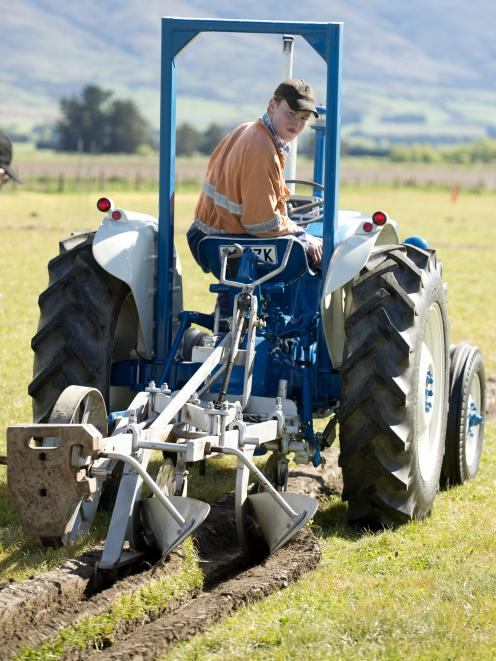 Outram diesel mechanic Thomas Sime competes in his first ploughing match on a 1969 Ford 2000 he...