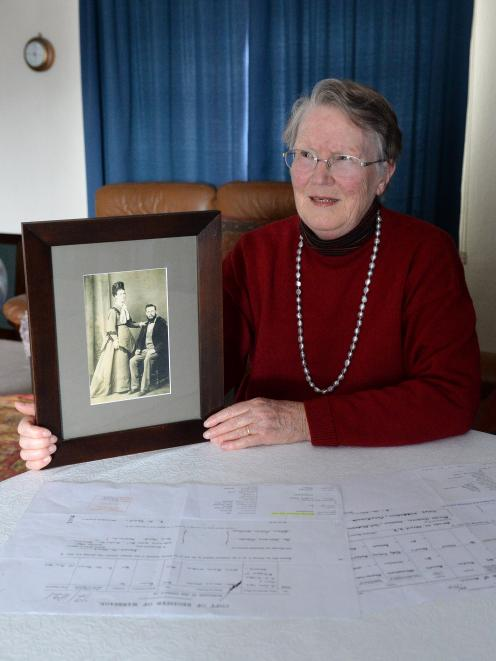 Sydney Brown, of  Dunedin, holds a photo of her paternal great-grandparents Anna Wallace and John...