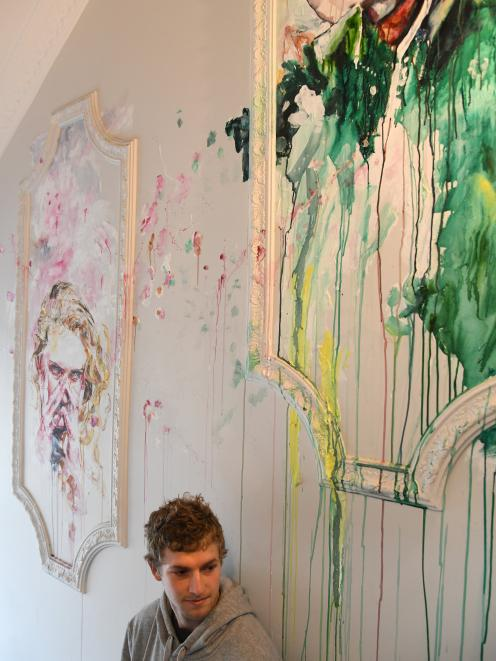 Tyler Kennedy Stent with his work in the foyer at the Artist Room. Photo: Craig Baxter