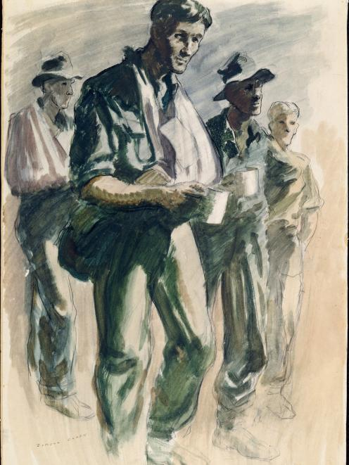 Walking wounded at Falamai, Mono Island, a Russell Clark watercolour after the battle for the island. Photo: Archives NZ, AAAC 898 NCWA 322